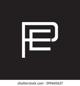 letter P and E monogram logo white black background