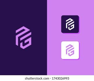 Letter P G logo design. creative minimal monochrome monogram symbol. Universal elegant vector emblem. Premium business logotype. Graphic alphabet symbol for corporate identity