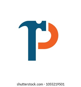 Letter P Hammer Vector Logo