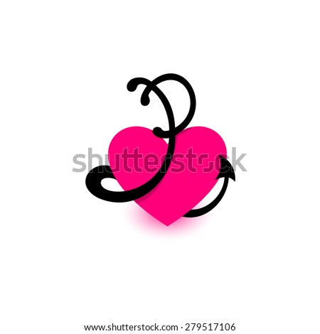 Letter P Heart Beautiful Vector Love Stock Vector Royalty Free