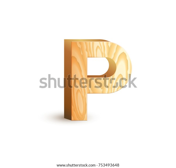 Letter P Isolated Geometric Wood Texture Stock Vector