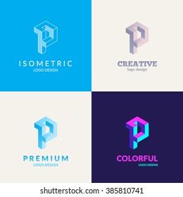 "Letter ""P"" isometric logo set."