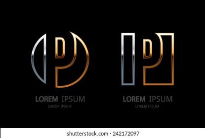 Letter P logo. Alphabet logotype vector design.