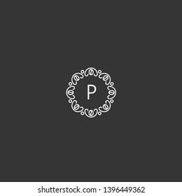 Letter P logo, Coffee beans and floral monogram design , Elegant line art logo, vintage, hipster, classic, sign, luxury, ornament and emblem logo template