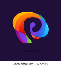 letter p logo at colorful multicolor splash background negative space design vector elements for