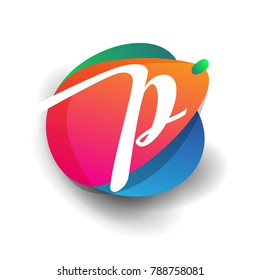 Letter P logo with colorful splash background, letter combination logo design for creative industry, web, business and company.
