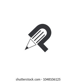 Letter P logo icon design template elements, P for pencil or pen typhography, favicon blog letter P, pencil logo, pen design template