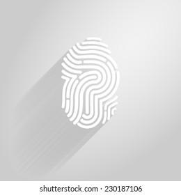 Letter P logo icon fingerprint style and long shadow.vector illustration.