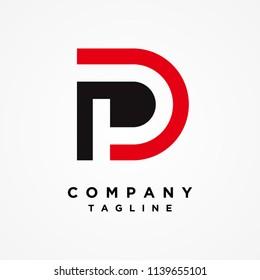 Letter P Logo, PD Logo design Vector