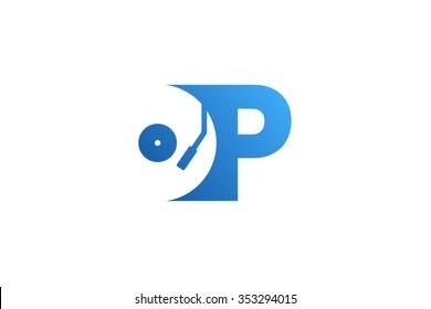 Letter P Logo, record vinyl logo design.