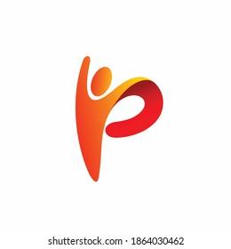 Letter P logo that formed people logo