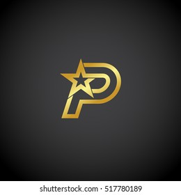 Letter P logo,Gold star sign Branding Identity Corporate unusual logo design template