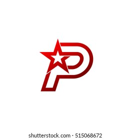 Letter P logo,Red Star sign Branding Identity Corporate unusual logo design template