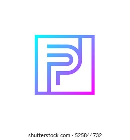 Letter P logo,Square shape symbol,Digital,Technology,Media