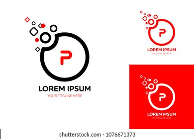 Letter P logotype design. Dots transform to circle concept vector