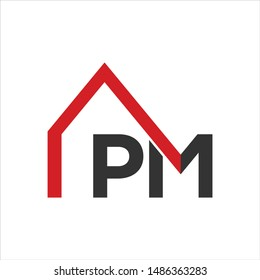 Letter P and M home Vector logo.
