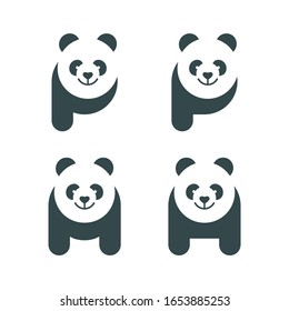 letter p m with panda face logo design