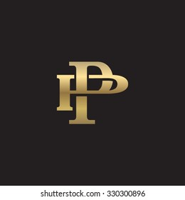 letter P and P monogram golden logo