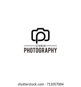 LETTER P PHOTOGRAPHY CAMERA LOGO