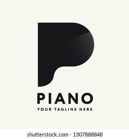 Letter P Piano Creative Logo Design Template Concept. Aerial View of Classic Musical Instrument Keyboard Bar on a White Background. Logotype for Music Store.