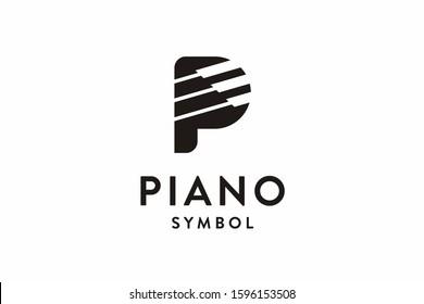 Letter P Piano Logo Icon Vector Illustration