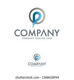 Letter P and Pin logo template