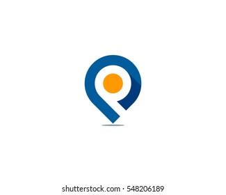 Letter P Pin Point Logo Design Element