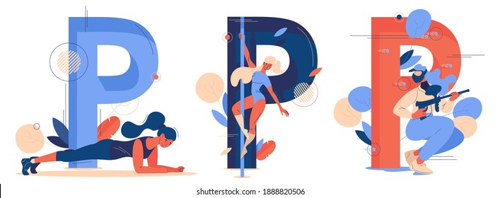 Letter P for pole dance, plank pose and paintball game. Large alphabet characters in blue and orange with females exercising
