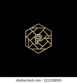 letter P PP minimalist art monogram hexogen shape logo, white color on black background