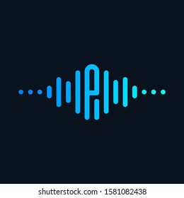 letter P with Pulse music player element. Logo template electronic music, equalizer, store, dj, nightclub, disco. Audio wave logo concept, Multimedia Technology themed, Abstract Shape. - vector