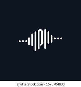 letter P with Pulse music player element. Logo template electronic music, equalizer, store, dj, nightclub, disco. Audio wave logo vector.
