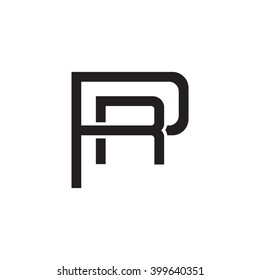 letter P and R monogram logo black
