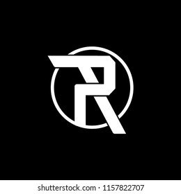 letter P and R vector round logo template