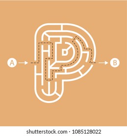 Letter P shape Maze Labyrinth, maze with one way to entrance and one way to exit. Flat design, vector illustration.