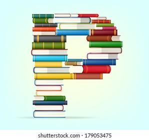 Letter P. Stacks of multi colored books vector illustration