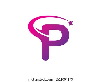 Letter P star logo or symbol template design