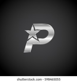 Letter P Star with metallic texture,3d Glossy, metal texture, Silver, steel logotype