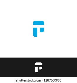 Letter P & T PT TP T & P - P with Negative Space T - T with Negative Space P icon / logo template