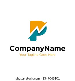 letter P trade marketing logo design vector. initial P and chart diagram graphic concept. company, corporate, business, finance symbol icon.