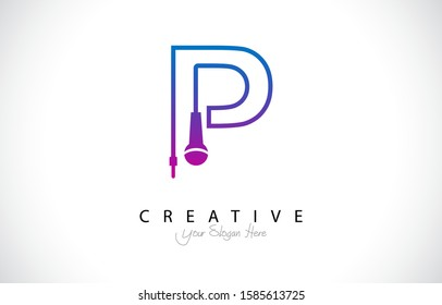 Letter P Trendy Design Logo Concept. Creative Icon Logo with Microphone Shape Vector Illustration.