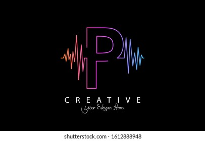 Letter P Trendy Design Logo Concept. Creative Icon Logo with Sound Wave Vector Illustration.