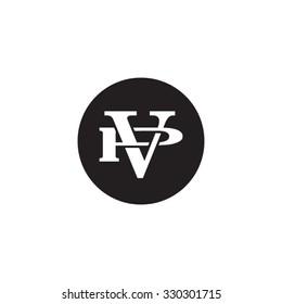 letter P and V monogram circle logo
