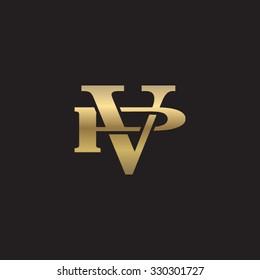 letter P and V monogram golden logo