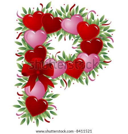 Letter P Valentine Day Letters Stock Vector Royalty Free 8411521
