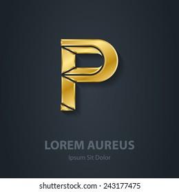 Letter P. Vector elegant gold font. Template for company logo. Design element or icon.