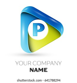 Letter P vector logo symbol in the colorful triangle on grey background. Vector template for your design