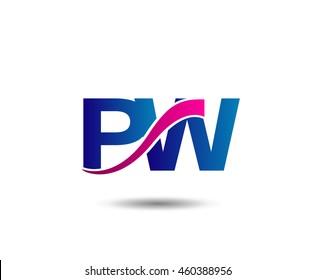 Letter P and w monogram logo