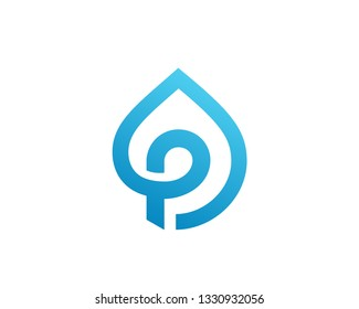 Letter P water drop logo icon design template elements