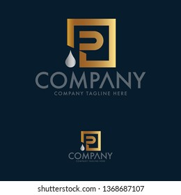 Letter P and Water drop logo template