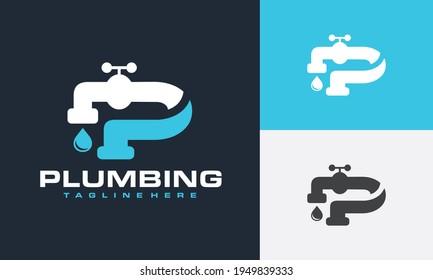 letter P water faucet logo